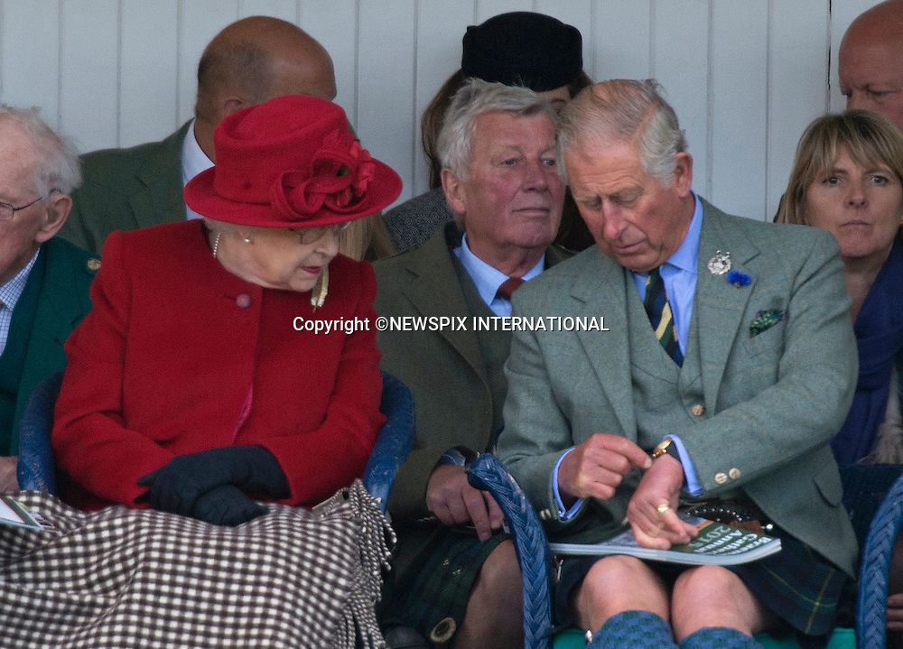 &quot;Please Telephone: +441279 324672 or e-mail: info@newspixinternational.co.uk, For Usage/Repro Fees&quot; - &quot;Special Rates May Apply&quot;<br /> 05.09.2015; Braemar, Scotland: PRINCE CHARLES POINTS THE TIME TO THE QUEEN<br /> With the Queen Elizabeth celebrating as the longest serving British Monarch on 9th Septemebr 2015, her long suffering son and heir  Prince Charles has had to wait a long time to ascend to the throne.<br /> Could this be the time for him to take over?<br /> The Royals who included The Queen, Duke of Edinburgh, Prince Charles, Peter Philips and wife Autumn were attending the 200th Braemar Highland Gathering.<br /> Mandatory Photo Credit: &copy;NEWSPIX INTERNATIONAL<br /> <br /> **ALL FEES PAYABLE TO: &quot;NEWSPIX INTERNATIONAL&quot;**<br /> <br /> PHOTO CREDIT MANDATORY!!: NEWSPIX INTERNATIONAL(Failure to credit will incur a surcharge of 100% of reproduction fees)<br /> <br /> IMMEDIATE CONFIRMATION OF USAGE REQUIRED:<br /> Newspix International, 31 Chinnery Hill, Bishop's Stortford, ENGLAND CM23 3PS<br /> Tel:+441279 324672  ; Fax: +441279656877<br /> Mobile:  0777568 1153<br /> e-mail: info@newspixinternational.co.uk