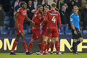 GOAL 1-2  Nottingham Forest forward Lewis Grabban (7) scores and celebrates during the EFL Sky Bet Championship match between Millwall and Nottingham Forest at The Den, London, England on 6 December 2019.