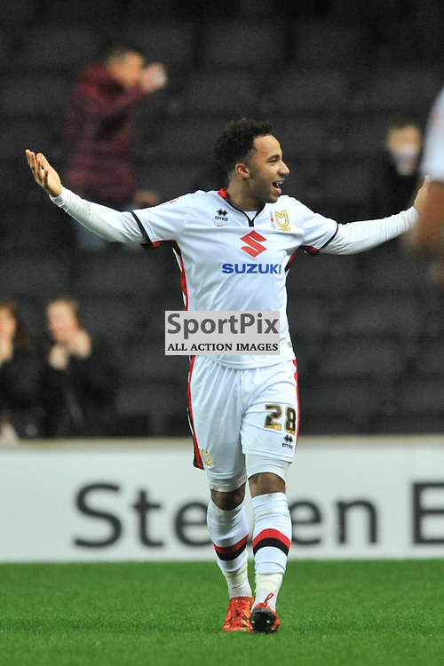 DONS JOSH MURPHY CLEBRATES AFTER SCORING DONS SECOND GOAL, MK Dons v Cardiff, Sky Bet Championship, Saturday 26th December 2016