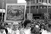 Treeton, Kiverton Park and Mines Rescue banners, 1983 Yorkshire Miner's Gala. Barnsley