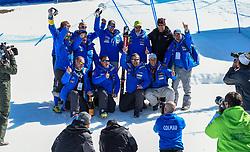 14.03.2019, Soldeu, AND, FIS Weltcup Ski Alpin, SuperG, Herren, Siegerehrung, Weltcupwertung, im Bild Dominik Paris (ITA, erster Platz Super G Weltcup, zweiter Platz Abfahrts Welt Cup) // first place Super G World Cup and second place Downhill World Cup Dominik Paris of Italy during the winner ceremony for the men's Super-G Worldcup rating of FIS Ski Alpine World Cup finals. Soldeu, Andorra on 2019/03/14. EXPA Pictures © 2019, PhotoCredit: EXPA/ Erich Spiess