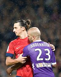 Zlatan Ibrahimovic of PSG hugs Aymen Abdennour of Toulouse. Toulouse v Paris St Germain, Ligue 1, Stade Municipal, Toulouse, France, 1st Feb 2013..Credit - Eoin Mundow/Cleva Media, www.clevamedia.com