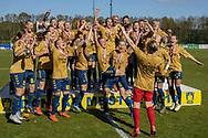 FODBOLD: Brøndby's spillere jubler med mesterskabspokalen efter kampen i 3F Ligaen mellem Brøndby IF og Fortuna Hjørring den 11. maj 2019 på Brøndby Stadion. Foto: Claus Birch