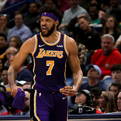 Mar 31, 2019; New Orleans, LA, USA; Los Angeles Lakers center JaVale McGee (7) reacts from the bench after a score by teammate guard Alex Caruso (not pictured) during the second half against the New Orleans Pelicans at the Smoothie King Center. Mandatory Credit: Derick E. Hingle-USA TODAY Sports