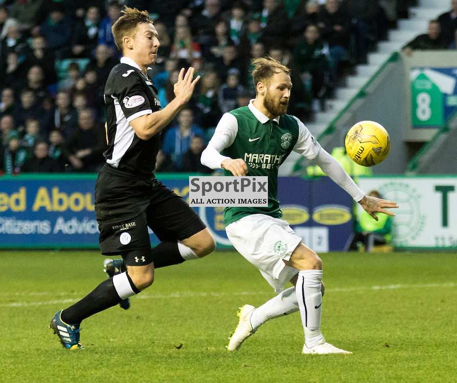 Hibernian's Martin Boyle gets in on goal during the Hibernian vs Queen of the South Scottish Championship 19th December 2015......(c) MARK INGRAM | SportPix.org.uk