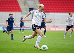 LLANELLI, WALES - Wednesday, August 28, 2013: Germany's Pauline Bremer in action against France during the Semi-Final match of the UEFA Women's Under-19 Championship Wales 2013 tournament at Parc y Scarlets. (Pic by David Rawcliffe/Propaganda)