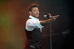 © Licensed to London News Pictures. 16/07/2015<br /> Rochester Castle Concerts,Rochester,Kent<br /> blue singing.<br /> Duncan James<br /> (Byline:Grant Falvey/LNP)