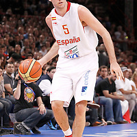 15 July 2012: Rudy Fernandez of Team Spain looks to pass the ball during a pre-Olympic exhibition game won 75-70 by Spain over France, at the Palais Omnisports de Paris Bercy, in Paris, France.