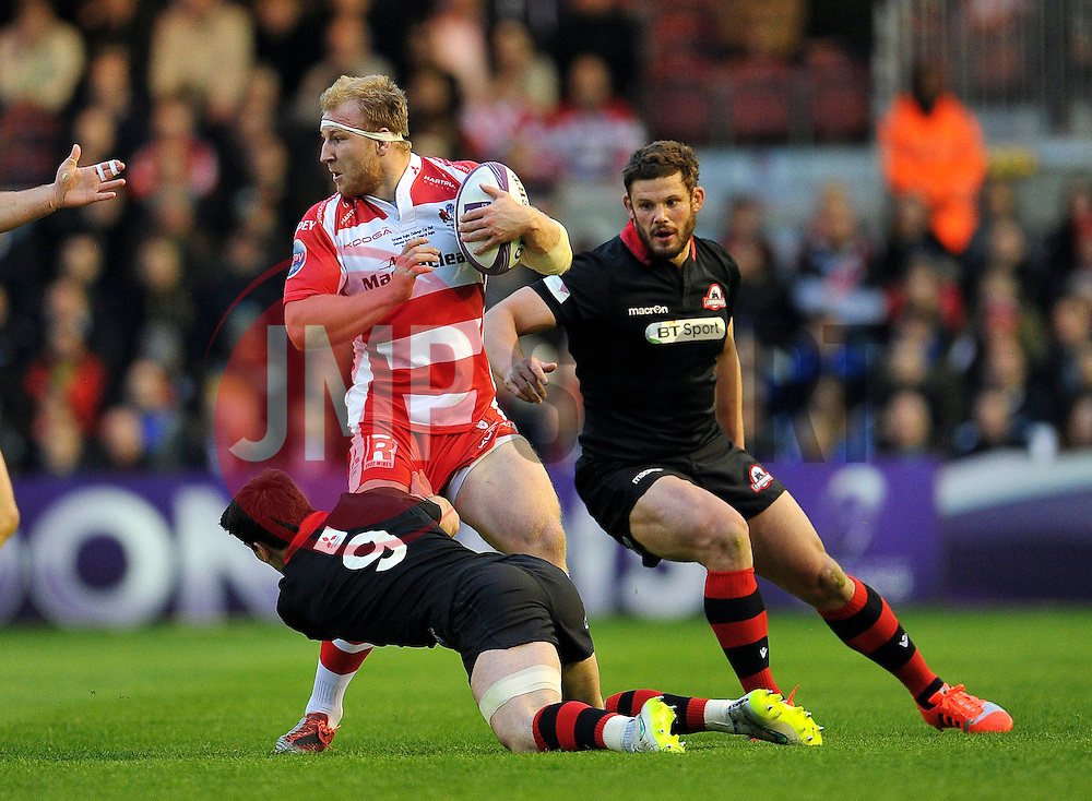 Matt Kvesic of Gloucester Rugby in possession - Photo mandatory by-line: Patrick Khachfe/JMP - Mobile: 07966 386802 01/05/2015 - SPORT - RUGBY UNION - London - The Twickenham Stoop - Edinburgh Rugby v Gloucester Rugby - European Rugby Challenge Cup Final