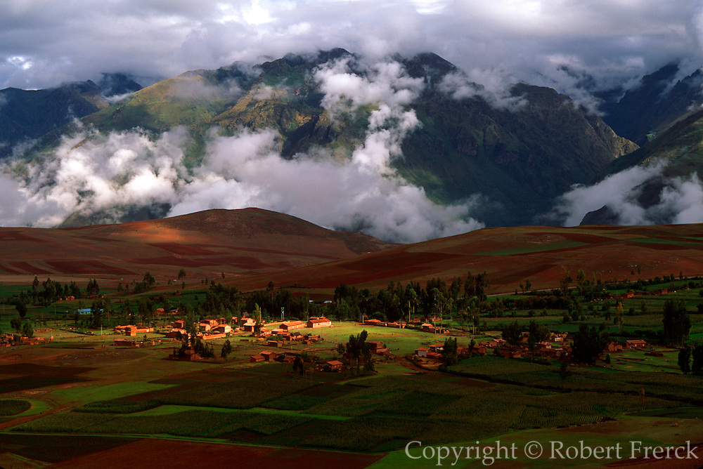 PERU, HIGHLANDS, CUZCO village fields in Inca Sacred Valley