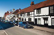 View along Cookham High Street with the Bel & Dragon Pub, Berkshire, Uk