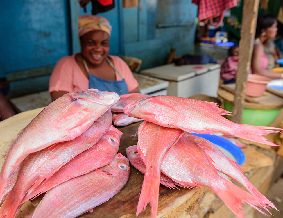 Woman selling red fish and laughs on a market, Tema, Ghana.