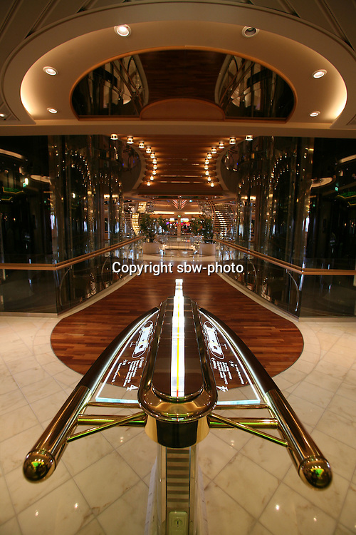 Royal Caribbean International's  Independence of the Seas, the world?s largest cruise ship. ..Interior and exterior features photos.....Model map outside Macbeth dinning room.