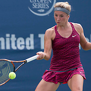 August 16, 2014, New Haven, CT:<br /> Annika Beck hits a forehand during a match against Misaki Doi on day three of the 2014 Connecticut Open at the Yale University Tennis Center in New Haven, Connecticut Sunday, August 17, 2014.<br /> (Photo by Billie Weiss/Connecticut Open)