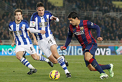 04.01.2015, Anoeta Stadium, San Sebastian, ESP, Primera Division, Real Sociedad vs FC Barcelona, 17. Runde, im Bild Real Sociedad's Inigo Martinez (l) and Jon Ansotegui (c) and FC Barcelona's Luis Suarez // during the Spanish Primera Division 17th round match between Real Sociedad and Barcelona FC at the Anoeta Stadium in San Sebastian, Spain on 2015/01/04. EXPA Pictures © 2015, PhotoCredit: EXPA/ Alterphotos/ Acero<br /> <br /> *****ATTENTION - OUT of ESP, SUI*****