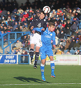 Jim McAlister dominates in the air  - Queen of South v Dundee, SPFL Championship at Palmerston Park <br /> <br /> <br />  - &copy; David Young - www.davidyoungphoto.co.uk - email: davidyoungphoto@gmail.com