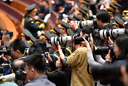 Photographers work during the closing meeting of the fourth session of the 12th National Committee of the Chinese People's Political Consultative Conference at the Great Hall of the People in Beijing, capital of China, March 14, 2016. EXPA Pictures © 2016, PhotoCredit: EXPA/ Photoshot/ Li He<br /> <br /> *****ATTENTION - for AUT, SLO, CRO, SRB, BIH, MAZ, SUI only*****