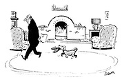 (An anxious man paces around his living room pursued by his dog carrying a pair of slippers)