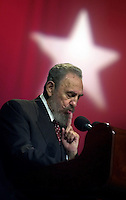 Fidel Castro, Presidente de Cuba, pronuncia un discurso en el acto de inauguracion del curso de formacion emergente de profesores de secundaria basica efectuado en el teatro Karl Marx de la Habana, 9 de Septiembre del 2002, la Habana, Cuba, (Photo/Cristobal Herrera)