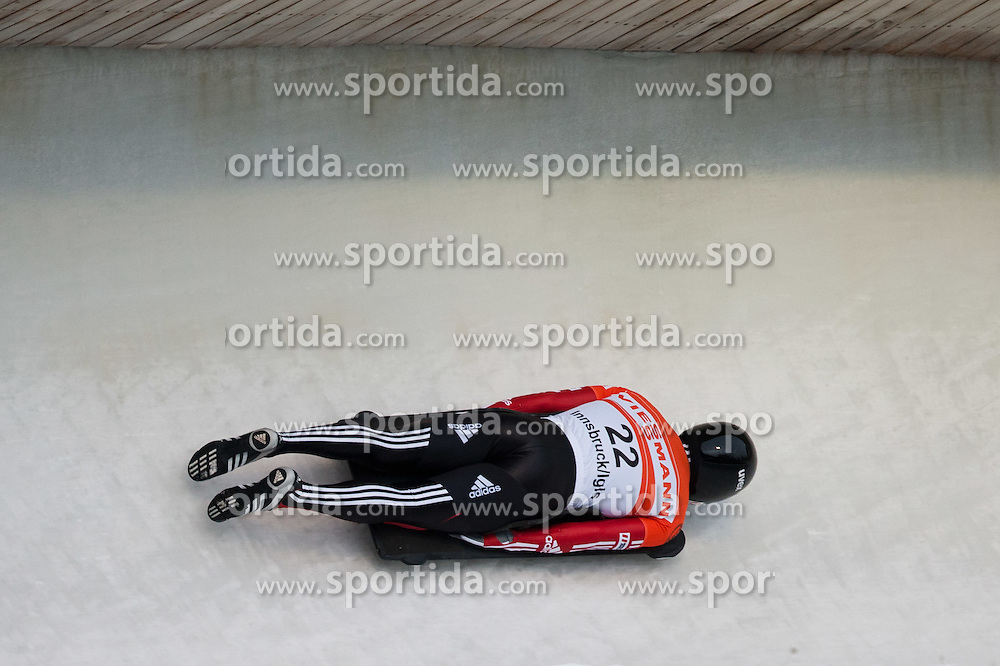 03.12.2011, Eiskanal, Igls, AUT, Viessmann FIBT Bob und Skeleton Weltcup, Skeleton Herren, 1. Durchgang, im Bild Raphael Maier (AUT) // Raphael Maier  of Austria during first run men's Skeleton at FIBT Viessmann Bobsleigh and Skeleton World Cup at Olympic ice canal, Innsbruck Igls, Austria on 2011/12/03. EXPA Pictures © 2011, PhotoCredit: EXPA/ Johann Groder