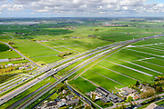 Nederland, Zuid-Holland, Hoogmade, 28-04-2017; infrabundel, Hogesnelheidslijn HSL loopt parallel aan autosnelweg A4.<br /> Highspeed train tracks and motorway A4.<br /> luchtfoto (toeslag op standard tarieven);<br /> aerial photo (additional fee required);<br /> copyright foto/photo Siebe Swart