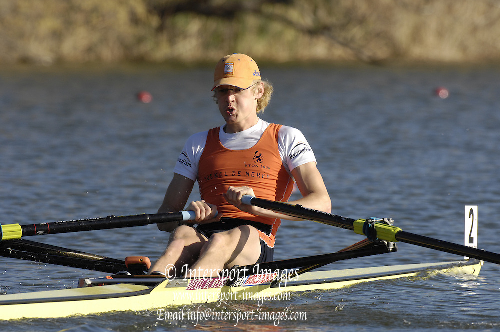 Seville. SPAIN, 18.02.2007, NED LM1X Gerard van de LINDEN, moves away from the start pontoon during Sunday morning's  heats, at the FISA Team Cup, held on the River Guadalquiver course. [Photo Peter Spurrier/Intersport Images]    [Mandatory Credit, Peter Spurier/ Intersport Images]. , Rowing Course: Rio Guadalquiver Rowing Course, Seville, SPAIN,
