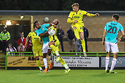 Cheltenham Town's Kelsey Mooney(28) attempts the clear the ball during the EFL Trophy match between Forest Green Rovers and Cheltenham Town at the New Lawn, Forest Green, United Kingdom on 4 September 2018.