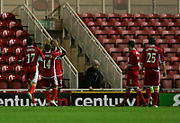 Photo: Andrew Unwin.<br />Middlesbrough v Dnipro. UEFA Cup. 03/11/2005.<br />Middlesbrough's Yakubu (#20) celebrates scoring his team's first goal.