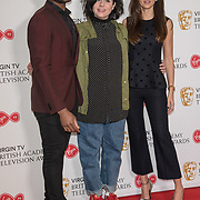 Ore Oduba, Caitlin Moran and Michelle Keega attend the Virgin TV BAFTA TV Nominations Press Conference, London, UK - 04 April 2018 at BAFTA, Piccadilly, London, UK.
