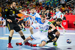 Blaz Blagotinsek of Slovenia and Nebojsa Simovic of Montenegro during handball match between National teams of Slovenia and Montenegro on Day 5 in Preliminary Round of Men's EHF EURO 2018, on January 17, 2018 in Arena Zagreb, Zagreb, Croatia. Photo by Ziga Zupan / Sportida