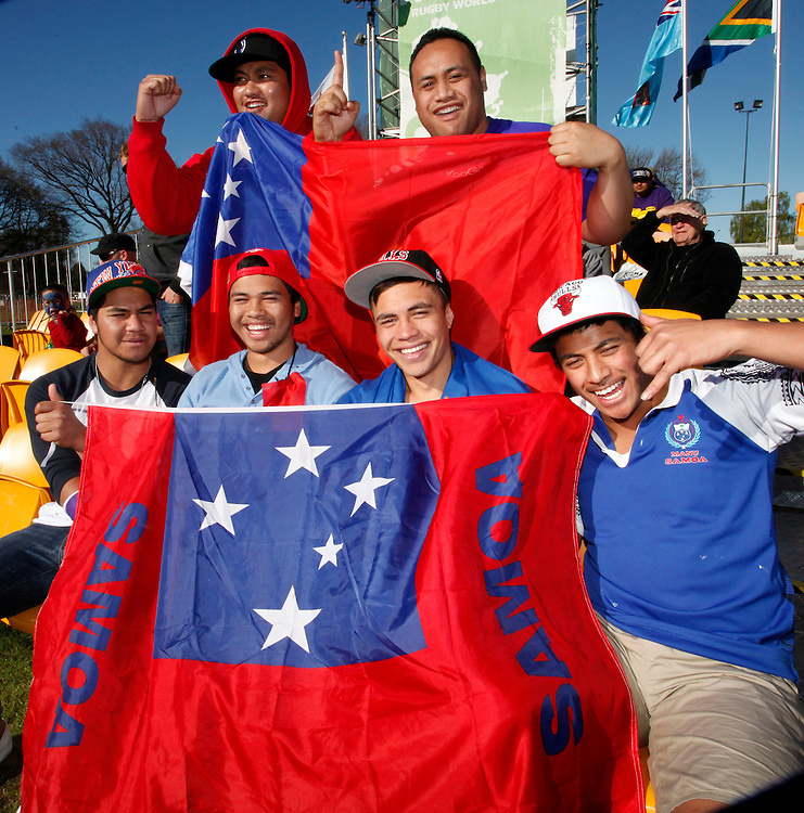 Samoan supporters during the Samoa vs Namibia game at Fanzone, Hagley Park, Christchurch, New Zealand, Wednesday, September 14, 2011.  Credit:SNPA / Pam Johnson
