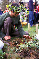Urban guerrilla demonstrators  planting flowers trees and plants in Parliament square during Mayday 2001 demonstrations in an attempt to reclaim the city for the people.