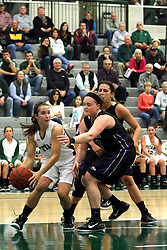 25 November 2014:  Lisa Palmer, Kate McKay and Rebekah Ehresman during an NCAA women's division 3 CCIW basketball game between the Wisconsin Whitewater Warhawks and the Illinois Wesleyan Titans in Shirk Center, Bloomington IL