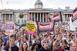 © Licensed to London News Pictures. 13/07/2018. London, UK. Tens of thousands of demonstrators march through central London to protest against the President of the United States, Donald Trump, and his ongoing four-day visit to the UK. The demonstration began at Portland Place and ended with a rally at Trafalgar Square. Photo credit : Andre Camara/LNP