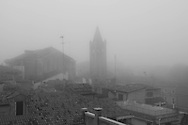 Italy. Venice elevated view. the grand canal in the fog  Venice - Italy   / le grand canal dans la brume  Venise - Italie   A