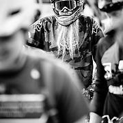 "Riders swarm Jackson Hole Mountain Resort during Friday Night Bikes. Mike Donovan, ""Mike D"" gets the award for best beard within a full-face helmet."