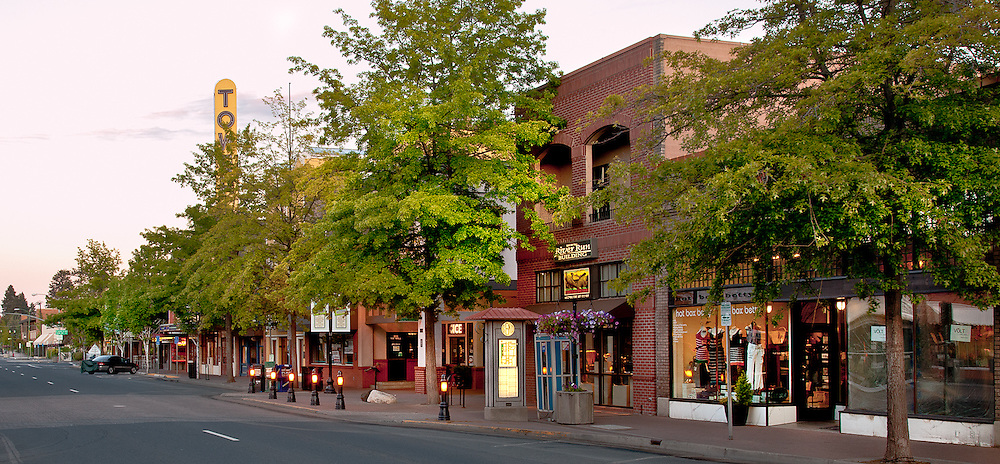 "The ""Old West"" charm of Wall Street, in downtown Bend, Oregon, is enhanced by the first light of a new summer day."