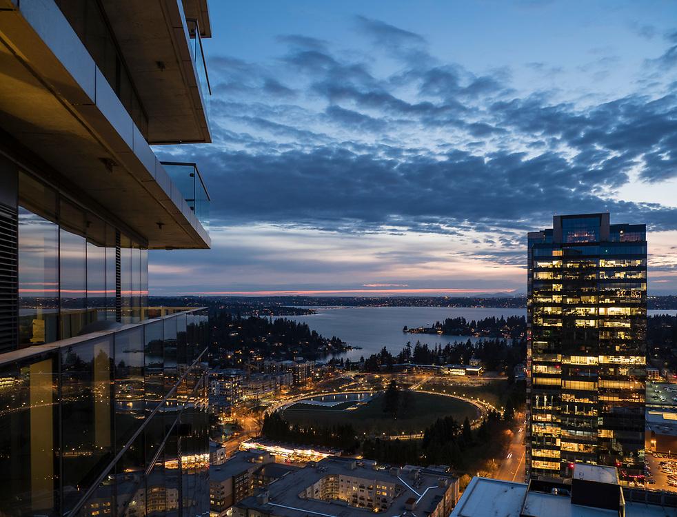 United States, Washington, Bellevue, Lake Washington and downtown at sunset