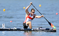 STEFAN HOLTZ (GERMANY) COMPETES IN MEN'S C1 200 METERS FINAL A RACE DURING 2010 ICF KAYAK SPRINT WORLD CHAMPIONSHIPS ON MALTA LAKE IN POZNAN, POLAND...POLAND , POZNAN , AUGUST 22, 2010..( PHOTO BY ADAM NURKIEWICZ / MEDIASPORT ).