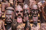 Africa, Ethiopia, Omo River Valley Hamer Tribe handicrafted wooden statues for sale at the regional market