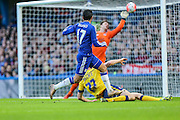 Chelsea's Pedro shot is saved by Scunthorpe's Luke Daniels during the The FA Cup third round match between Chelsea and Scunthorpe United at Stamford Bridge, London, England on 10 January 2016. Photo by Shane Healey.