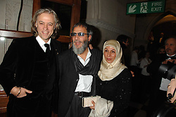 Left to right, SIR BOB GELDOF and YUSUF ISLAM former known as Cat Stevens and his wife  at the 2nd Fortune Forum Summit and Gala Dinner held at the Royal Courts of Justice, The Strand, London on 30th November 2007.<br />
