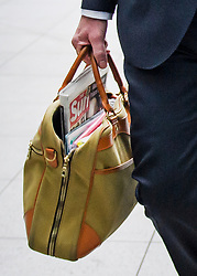© Licensed to London News Pictures. 17/06/2019. London, UK. Secretary of State for Environment, Food and Rural Affairs MICHAEL GOVE MP is seen carrying a copy of The Sun newspaper as he arrives at BBC Broadcasting House in London. Boris Johnson has cemented his position as favourite to become the next Prime Minster after winning a landslide in the first round of the conservative party's leadership race. Photo credit: Ben Cawthra/LNP