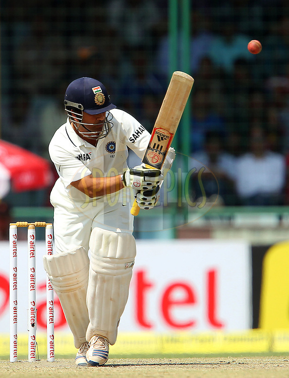 Sachin Tendulkar of India during day 2 of the 4th Test Match between India and Australia held at the Feroz Shah Kotla stadium in Delhi on the 23rd March 2013..Photo by Ron Gaunt/BCCI/SPORTZPICS ..Use of this image is subject to the terms and conditions as outlined by the BCCI. These terms can be found by following this link:..http://www.sportzpics.co.za/image/I0000SoRagM2cIEc