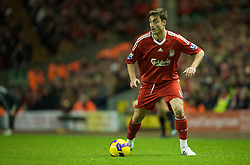 LIVERPOOL, ENGLAND - Saturday, November 22, 2008: Liverpool's Albert Riera in action against Fulham during the Premiership match at Anfield. (Photo by David Rawcliffe/Propaganda)