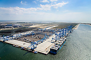 Nederland, Zuid-Holland, Rotterdam, 18-02-2015; Prinsessenhavenweg, Tweede Maasvlakte met Prinses Amaliahaven en Prinses Arianehaven. Containerterminals van  APM Terminals Rotterdam-MV II (APMT).<br /> <br /> Maasvlakte 2 (MV2), extension of the Port of Rotterdam, new harbors and constructing of container terminals.<br /> <br /> luchtfoto (toeslag op standard tarieven);<br /> aerial photo (additional fee required);<br /> copyright foto/photo Siebe Swart