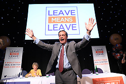 "© Licensed to London News Pictures . 22/09/2018. Bolton, UK. NIGEL FARAGE . Pro Brexit campaign group Leave Means Leave host a "" Save Brexit "" and "" Chuck Chequers "" rally at the University of Bolton Stadium , attended by leave-supporting politicians from a cross section of parties , including Conservative David Davis , former UKIP leader Nigel Farage and Labour's Kate Hoey . Photo credit: Joel Goodman/LNP"