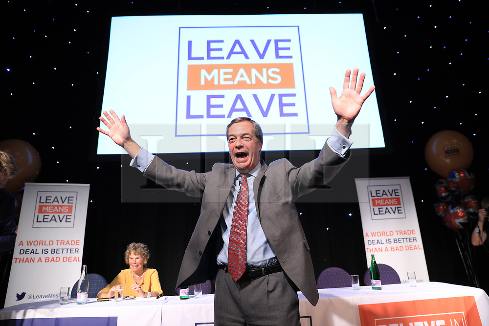 """© Licensed to London News Pictures . 22/09/2018. Bolton, UK. NIGEL FARAGE . Pro Brexit campaign group Leave Means Leave host a """" Save Brexit """" and """" Chuck Chequers """" rally at the University of Bolton Stadium , attended by leave-supporting politicians from a cross section of parties , including Conservative David Davis , former UKIP leader Nigel Farage and Labour's Kate Hoey . Photo credit: Joel Goodman/LNP"""