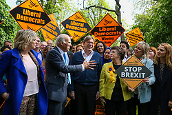 © Licensed to London News Pictures. 10/05/2019. London, UK. Guy Verhofstadt, the EU Parliament's representative on Brexit and the Leader ofthe Alliance of Liberals and Democrats for Europe joins Vince Cable, Liberal Democrats MEP candidates and party activists canvassing in Camden, north London forthe Liberal Democrats European Union election campaign. Britain must hold European Parliament elections on 23rd May 2019 or leave the European Union with no deal on 1st June 2019 after Brexit was delayed until 31st October 2019, as Prime Minister, Theresa May failed to get her Brexit deal approved by Parliament. Photo credit: Dinendra Haria/LNP