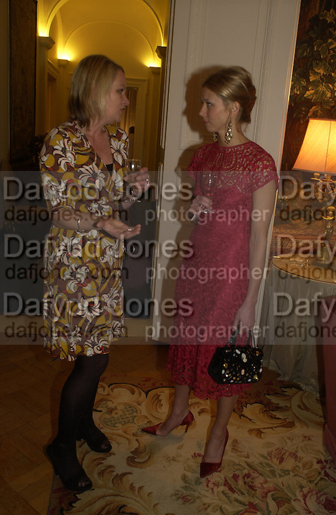 Louisa Buck and Britt Lintner. Dinner at the Italian Embassy in which the winner of the MaxMara Art Prize for Women is announced. Grosvenor Sq. London . 2 February  2006. © Copyright Photograph by Dafydd Jones 66 Stockwell Park Rd. London SW9 0DA Tel 020 7733 0108 www.dafjones.com